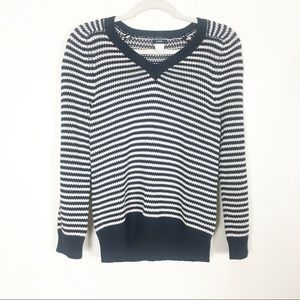 J. Crew Navy Blue & White Striped V Neck Sweater